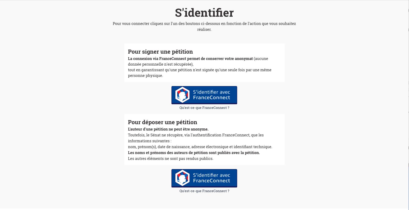 Connexion à E-pétitions via FranceConnect