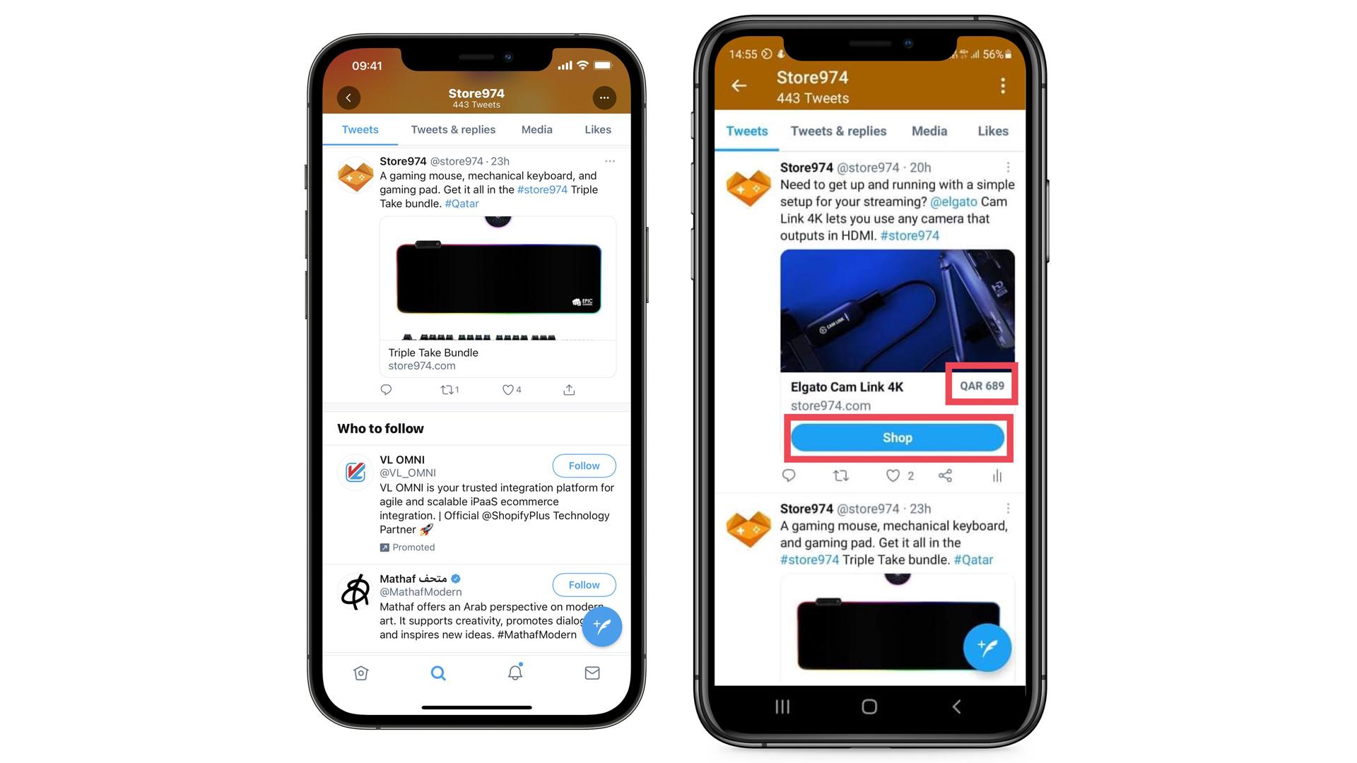 La nouvelle mise en avant des produits depuis l'application Twitter